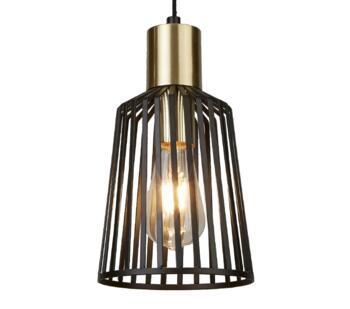 Bird Cage 1 Light Pendant Ceiling Light Black & Satin Brass Finish Cage - 9412BK