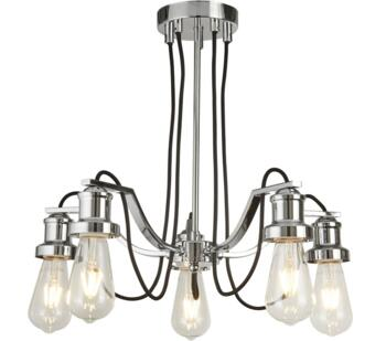 Olivia 5 Light Ceiling Light  Chrome Finish With Black Braided Fabric Cable - 1065-5CC
