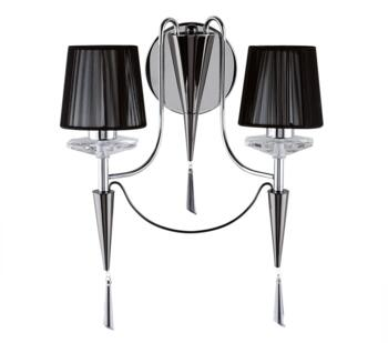 Wall 2 Light Chrome And Black Finish With Crystal Sconces  - 2082-2CC