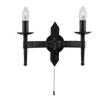 Cartwheel 2 Light Wall Light Black Finish Wrought Iron - 2422-2BK