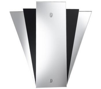 Fan Mirror Wall Light  With Mirrored & Black Glass Back Panels  - 6201BK