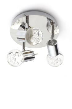 Bubbles 3 Light LED Bathroom Ceiling Fitting In Polished Chrome Finish With Clear Glass Shade - SPA-30782-CHR