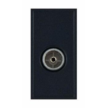 Coaxial Socket Eurodata Module Female Non-Isolated with Faraday Cage - Black