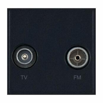 Twin Coaxial Eurodata Module 1 Male & 1 Female Isolated with Faraday Cage - Black