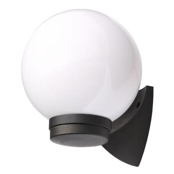 York Single Light Coastal Outdoor Wall Fitting In Black Finish With White Globe Shade - CZ-31811-BLK