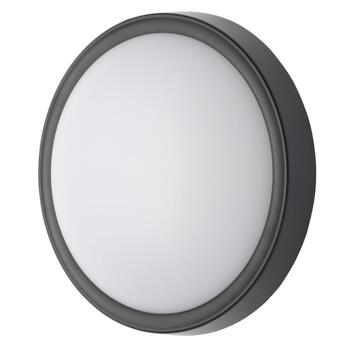 Oxford Round Single Light LED Coastal Outdoor Flush Fitting In Black Finish With White Diffuser - CZ-31750-BLK