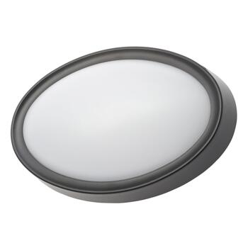 Oxford Oval Single Light LED Coastal Outdoor Flush Fitting In Black Finish With White Diffuser - CZ-31751-BLK