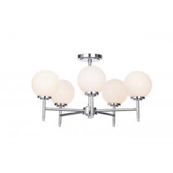 Porto 5 Light Semi Flush Bathroom Ceiling Fitting In Polished Chrome Finish With Opal Glass Shades - SPA-31308-CHR