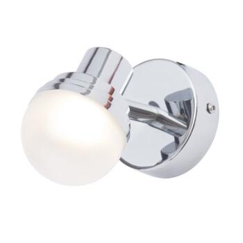 Milan Single Light LED Bathroom Spotlight Wall Fitting In Polished Chrome Finish With Opal Glass Sha - SPA-31732-CHR