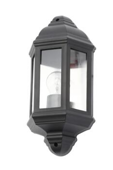 Athena Single Light Half Lantern Coastal Outdoor Wall Fitting In Black Finish - CZ-31748-BLK