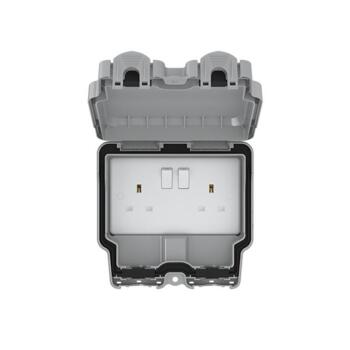 IP66 Double Outdoor Weatherproof Socket - 2 Gang Switched