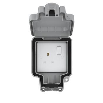 IP66 Single Outdoor Weatherproof Socket - 1 Gang Switched