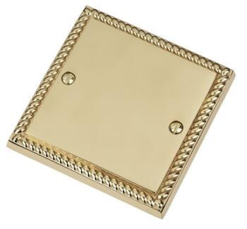 Georgian Brass Blank Plate - Single 1 Gang - Georgian Brass