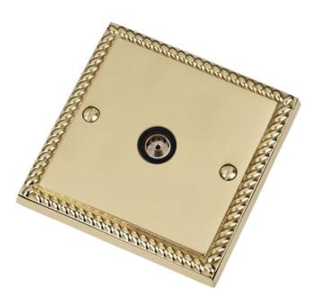 Georgian Brass TV Socket - Single Co-ax Outlet - With Black Interior