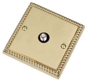 Georgian Brass Satellite Socket - Single - With Black Interior