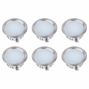 Nimbus LED 30mm Stainless Steel Round Plinth Light Kit x 6  - Cool White
