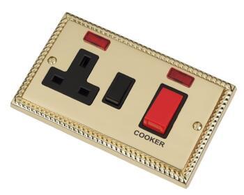 Georgian Brass Cooker Switch & Socket 45A DP Neon - With Black Interior