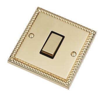 Georgian Brass Light Switch - Single 1 Gang 2 Way - With Black Interior