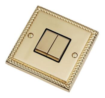 Georgian Brass Light Switch - Double 2 Gang Twin - With Black Interior