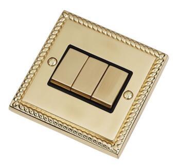 Georgian Brass Light Switch - Triple 3 Gang 2 Way - With Black Interior