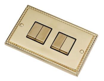 Georgian Brass Light Switch - Quad 4 Gang 2 Way - With Black Interior