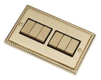 Georgian Brass Light Switch - 6 Gang 2 Way - With Black Interior