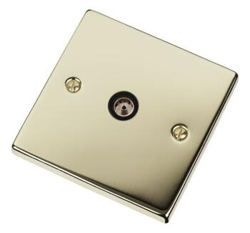 Polished Brass TV Socket - Single Co-ax Outlet - With Black Interior