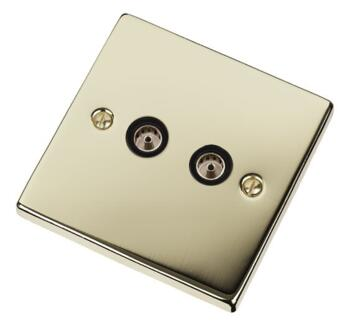 Polished Brass Double TV Socket - Twin Co-ax Out - With Black Interior