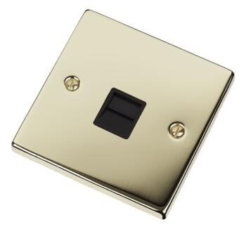 Polished Brass Telephone Socket - Single Master - With Black Interior