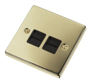 Polished Brass Double Telephone Socket - Secondary - With Black Interior
