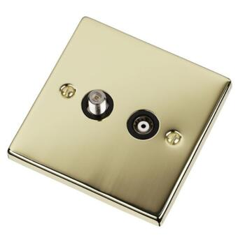 Polished Brass Satellite & TV Socket - Co-ax Out - With Black Interior