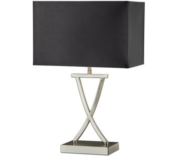 Cross 1 Light Table Lamp Satin Silver Finish With Black Shade - 7923SS Available 24/12/20