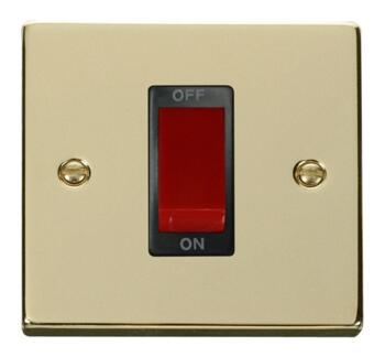 polished brass cooker shower isolator switch 45a with. Black Bedroom Furniture Sets. Home Design Ideas