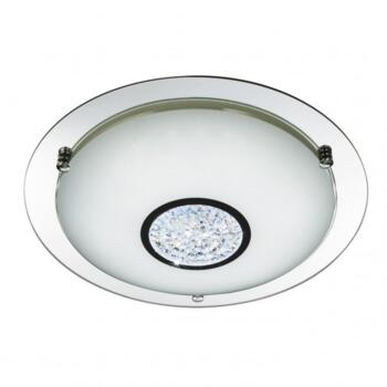 Chrome 24 Led Flush Light With White Glass Shade & Crystal Inner Decoration - 3883-31