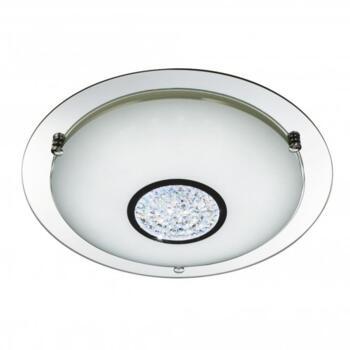 Chrome 36 Led Flush Light With White Glass Shade & Crystal Inner Decoration - 3883-41
