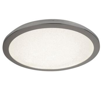 LED Flush Ceiling Light, Chrome & Crystal Sand Finish - 40cm 8100-40CC