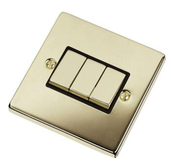 Polished Brass Light Switch - Triple 3 Gang 2 Way - With Black Interior