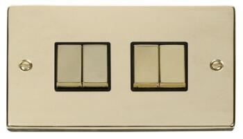 Polished Brass Light Switch Quad 4 Gang 2 Way With Black Interior