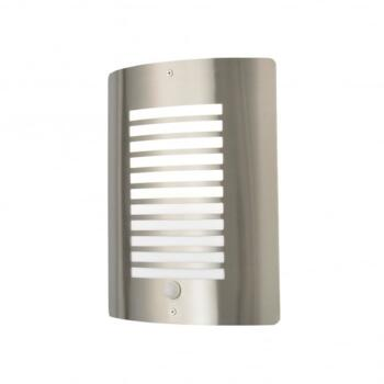 Sigma Single Light Stainless Steel Panel Slatted Outdoor Wall Fitting With PIR Sensor - ZN-28708-SST
