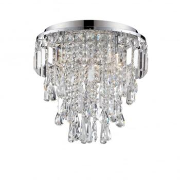 Bresna 3 Warm White LED Crystal Flush Ceiling Fitting in Polished Chrome Finish - WF-25204-CHR