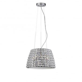 Moy 3 LED Large Crystal Bathroom Ceiling Pendant in Polished Chrome Finish - WF-25240-CHR