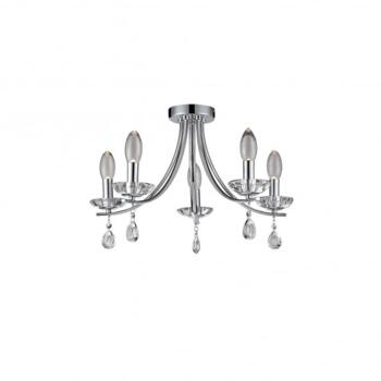 Bandon 5 Light Bathroom Ceiling Chandelier in Polished Chrome Finish - WF-25250-CHR
