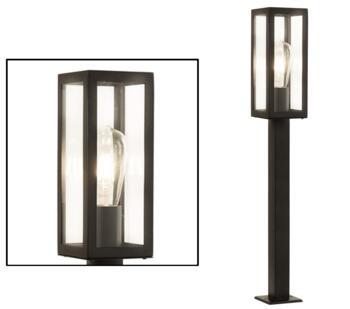 Box 1 Light Outdoor (900mm) Rectangular Head Post Light Black Finish - 6441-900BK