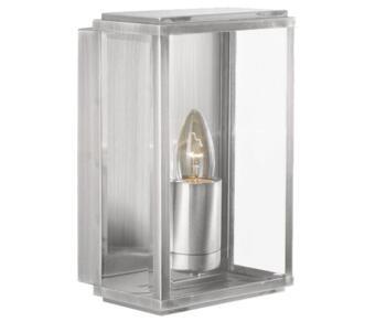 Box 1 Light Outdoor Coach Wall Light Satin Silver Finish - 8204SS