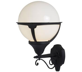 Orb 1 Light Outdoor Wall Light Black Finish With Round Opal Shade - 8739