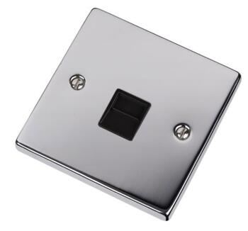 Polished Chrome Telephone Socket - Single Master - With Black Interior