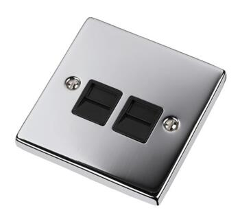 Polished Chrome Double Telephone Socket -Secondary - With Black Interior