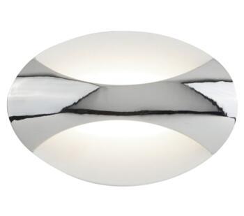 LED Oval Wall Light Chrome & Sand White Finish - 3420CC