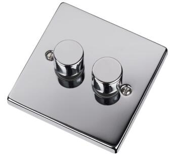 Polished Chrome Dimmer Switch - Double 2 Gang Twin - 400W Tungsten/Halogen