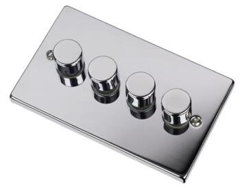 Polished Chrome Dimmer Switch - Quad 4 Gang 2 Way - Polished Chrome